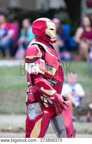 Arlington, Texas, Usa - July 4, 2019: Arlington 4th Of July Parade, Man Dress Up As Ironman, Comics