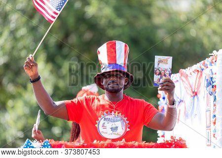 Arlington, Texas, Usa - July 4, 2019: Arlington 4th Of July Parade, Man Promoting Reachout Usa Rhaps