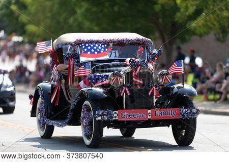 Arlington, Texas, Usa - July 4, 2019: Arlington 4th Of July Parade, Model A Ford Classic Car Full Of