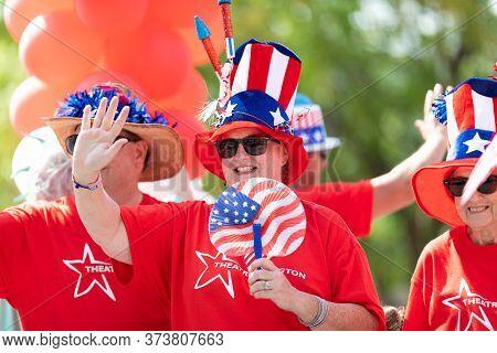 Arlington, Texas, Usa - July 4, 2019: Arlington 4th Of July Parade, People Promoting The Theatre Arl