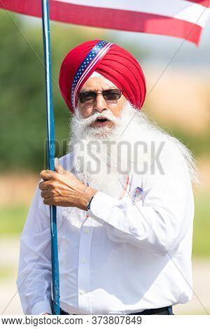 Arlington, Texas, Usa - July 4, 2019: Arlington 4th Of July Parade, Members Of The Sikh Commiunity,