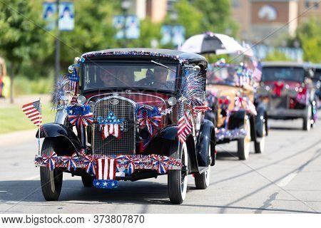 Arlington, Texas, Usa - July 4, 2019: Arlington 4th Of July Parade, Ford Model A With American Flags