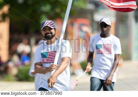 Arlington, Texas, Usa - July 4, 2019: Arlington 4th Of July Parade, Man Walking Down Center Street W