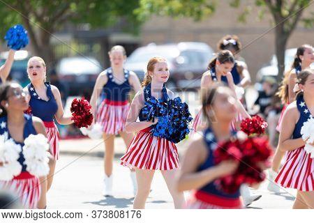 Arlington, Texas, Usa - July 4, 2019: Arlington 4th Of July Parade, The James Martin High School, Su