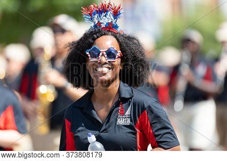 Arlington, Texas, Usa - July 4, 2019: Arlington 4th Of July Parade, Members Of The James W. Martin H