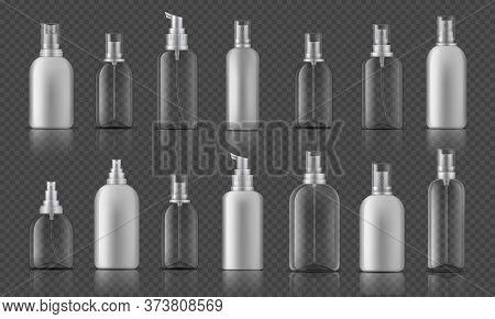 Spray Bottle. Sanitizer Gel For Hands Hygiene, Corona Virus Prevention Concept, Cosmetic Bottle With
