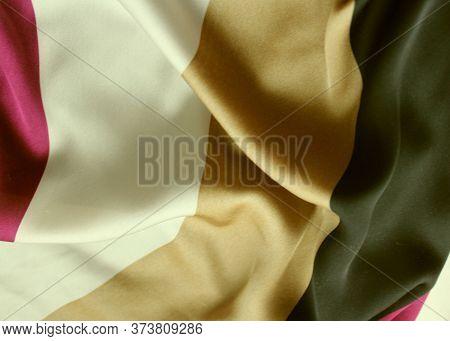 White-black-maroon Striped Satin Background. Silk Fabric With Pleats. Satin, Silk Or Satin Create A