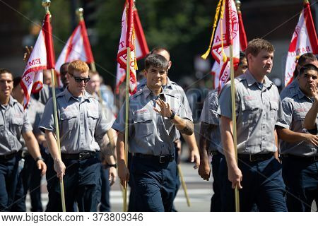 Chicago, Illinois, Usa - August 8, 2019: The Bud Billiken Parade, Members Of The Chicago Fire Dept.