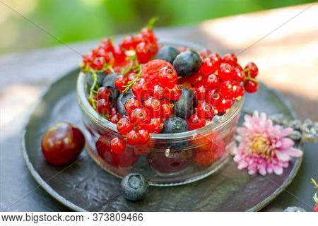 Healthy Forest Fruits, Forest Berries, Healthy Organic Seasonal Fruit In Glass Bowl
