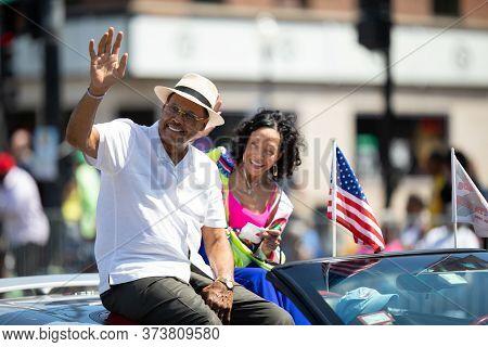 Chicago, Illinois, Usa - August 8, 2019: The Bud Billiken Parade, Don Jackson, Grand Marshal, Waving