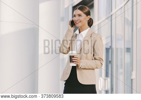 Portrait Beautiful Happy Corporate Girl Boss Talk Mobile Phone, Drink Takeaway Coffee And Smile Outd