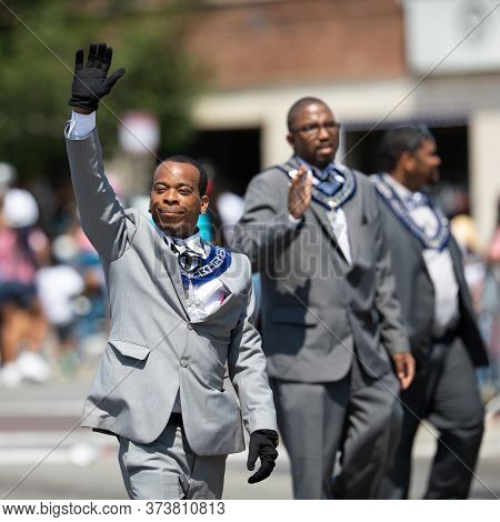 Chicago, Illinois, Usa - August 8, 2019: The Bud Billiken Parade, Members Of The Gentlemen Of Abraha