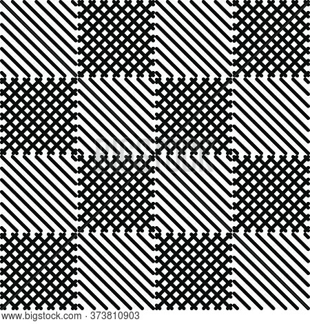 Seamless Geometric Monochrome Pattern With Polygons. Repetitive Black And White Broken Check Backgro