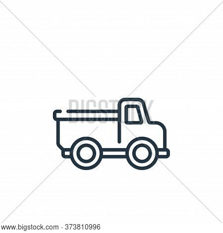 toy truck icon isolated on white background from children toys collection. toy truck icon trendy and