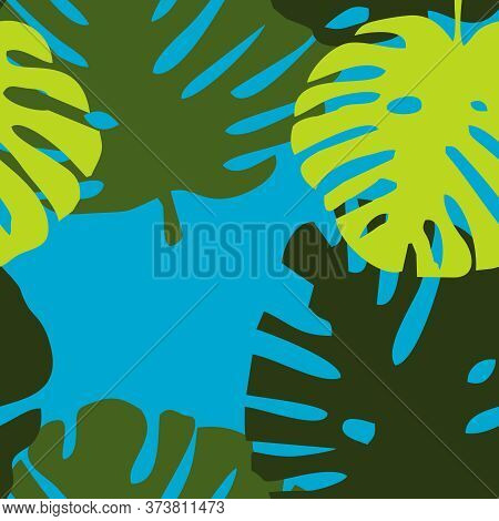Tile Tropical Vector Pattern With Green Exotic Leaves On Blue Background