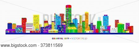 Horizontal City Scape With Colorful Various Buildings With Little Windows. Cityscape Outline Isolate