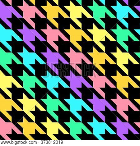Seamless Geometric Colorful Pattern With Polygons. Repetitive Black And Color Broke Check Background