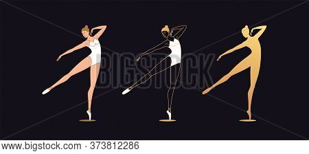Golden Ballerina Woman In Outline Style. Set Of Silhouette, Ballet Dancer Stands On One Leg, Outstre