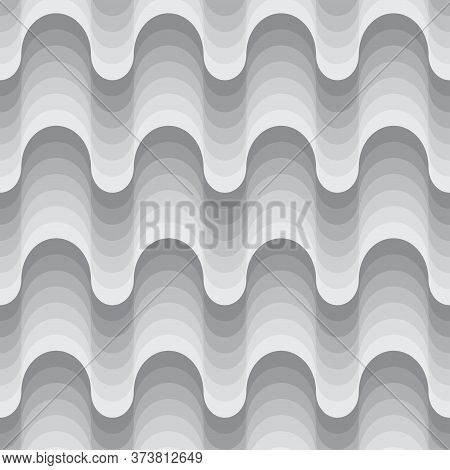 Seamless Monochrome 70s Pattern Design. Wavy Repetitive Grey Pattern With Retro Waves. Vector Illust