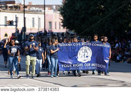 Indianapolis, Indiana, Usa - September 28, 2019: The Circle City Classic Parade, Members Of The Indi