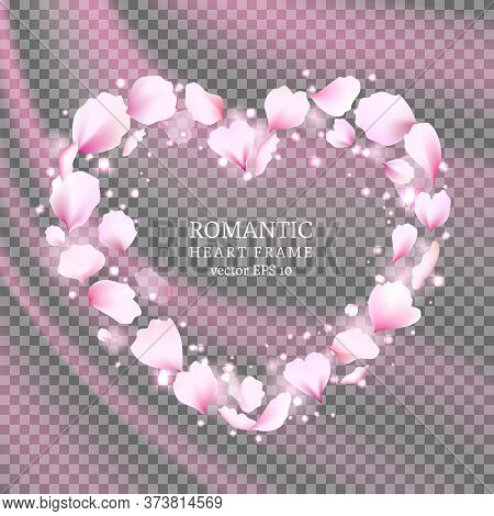 Rose Petals Heart With Flying Tender Pink Petals. Cute Falling Flowers Petals In The Shape Of The He