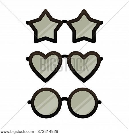 Set Of Funny Star, Heart And Circle Shaped Eye Glasses Isolated On White Background. Various Black E
