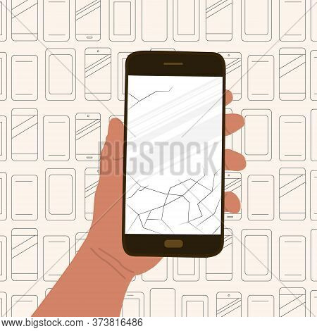Hand Holds Broken Mobile Phone. Contour Background With Various Cell Phones. Concept Of Mobile Muste