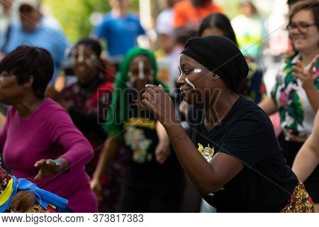 St. Louis, Missouri, Usa - August 24, 2019: Festival Of Nations, Tower Grove Park, Members Of The Dr