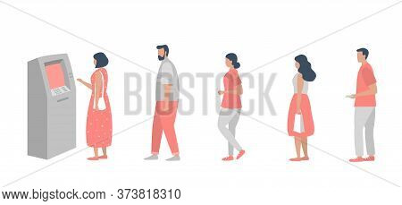 Queue To The Atm. People Are Waiting In Line To Withdraw Money From An Atm. Vector Illustration In F