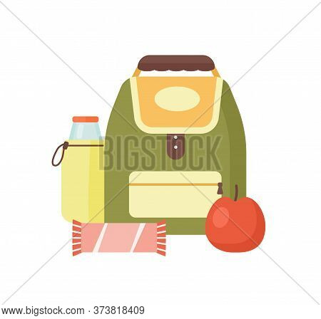 Colorful Meal For Kids Vector Flat Illustration. Cartoon School Backpack, Bottle With Beverage, Swee
