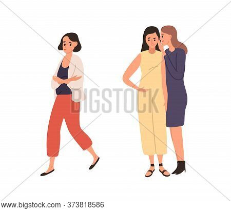 Women Laughing And Gossiping About Female Vector Flat Illustration. Smiling Girl Talking And Whisper