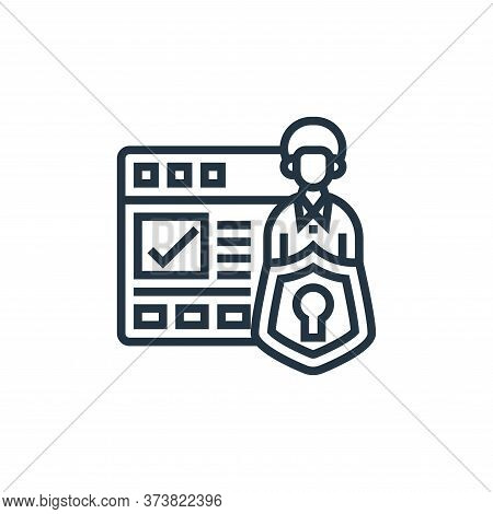 data protection icon isolated on white background from confidential information collection. data pro