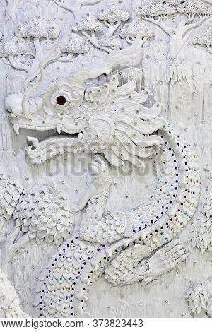 Bas-relief With Dragon - Decoration Detail Of Wat Huay Pla Kang, Known As Big Buddha Temple In Chian
