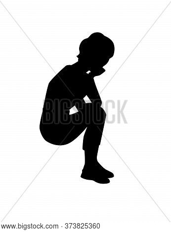 Black Silhouette Young Girl In Sitting Pose Wearing Casual Clothes Cartoon Character Fashion Female