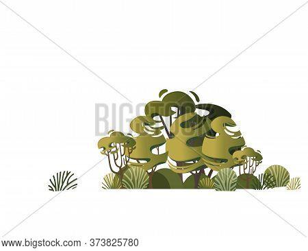Green Vegetation Bushes Grass And Trees Flat Vector Illustration On White Background