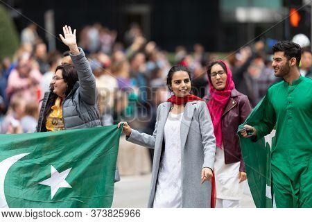 Houston, Texas, Usa - November 28, 2019: H-e-b Thanksgiving Day Parade, Members Of The Pakistani Com