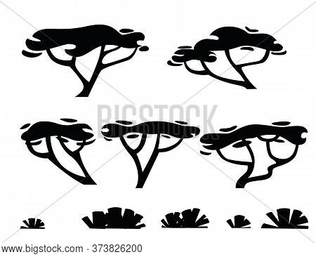 Set Of Black Silhouettes Savanna Flora Plants Trees Grass And Bushes Flat Vector Illustration Isolat