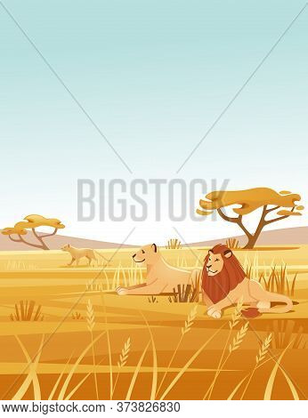 Landscape Savanna Background With Clear Sky Yellow Grass And Tree Lion Family Lying On Ground Flat V