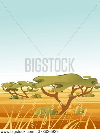 Landscape Savanna Background With Clear Sky Yellow Grass And Green Tree Flat Vector Illustration Car