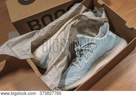 Moscow, Russia - June 2020 : Adidas Yeezy Boost 350 V2 Cloud White - Famous Limited Collection Fashi