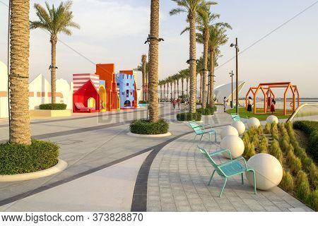 Dubai / Uae - June 19, 2020: Dubai Creek Harbour Promenade/walk With Beautiful Green Palms And Turqu