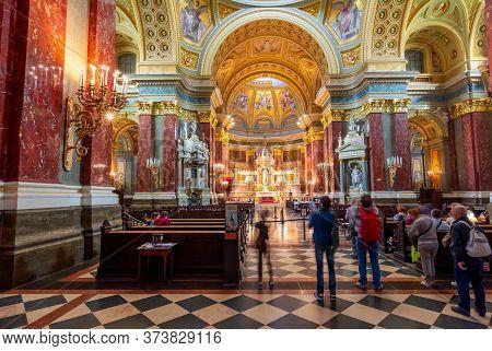 Budapest, Hungary - May 2018: St. Stephen's Basilica Interior