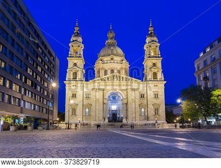 St. Stephen's Basilica At Night Illumination, Budapest, Hungary