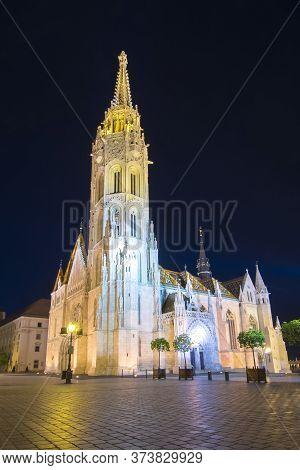 Matthias Church At Fisherman's Bastion At Night, Budapest, Hungary
