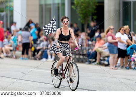 Indianapolis, Indiana, Usa - May 25, 2019: A Group Of Tourists Riding Bicycles Down Pennsylvania Str