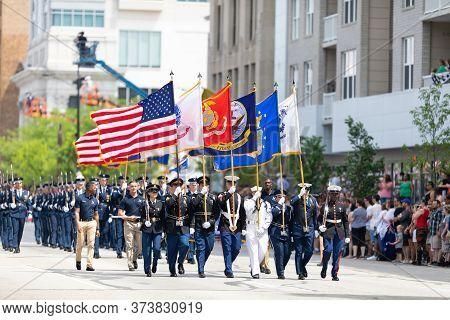 Indianapolis, Indiana, Usa - May 25, 2019: Indy 500 Parade, Members Of The United States Military Es