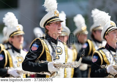 Indianapolis, Indiana, Usa - May 25, 2019: Indy 500 Parade, The All American Band From The Purdue Un