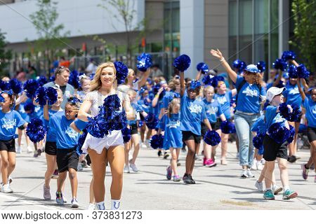 Indianapolis, Indiana, Usa - May 25, 2019: Indy 500 Parade, Colts Cheerleaders With Junior Cheerlead