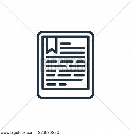 ebook icon isolated on white background from education collection. ebook icon trendy and modern eboo