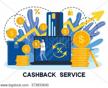 Man Receiving Cashback From Payment With Credit Card, Laptop Surrounded With Coins. Concept Of Cashb